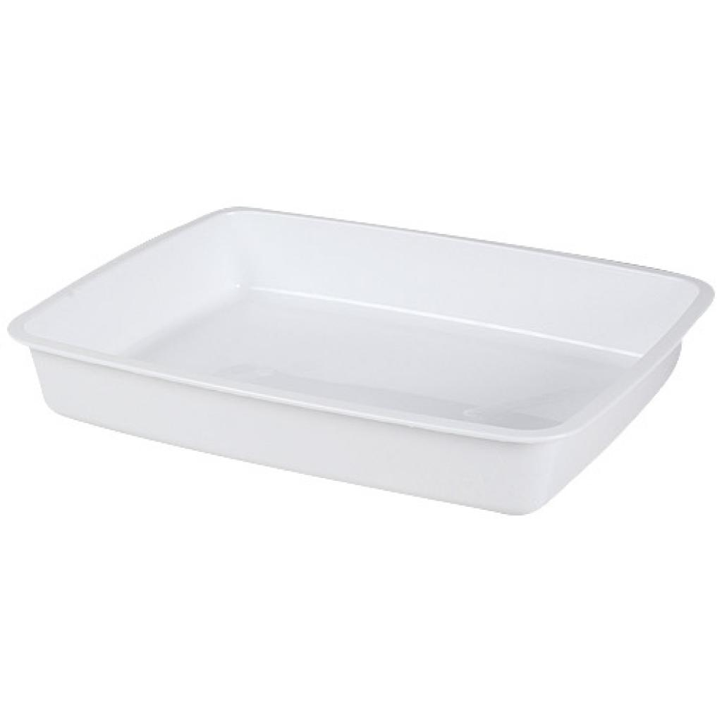 ½ white moulded PP container, 48mm depth
