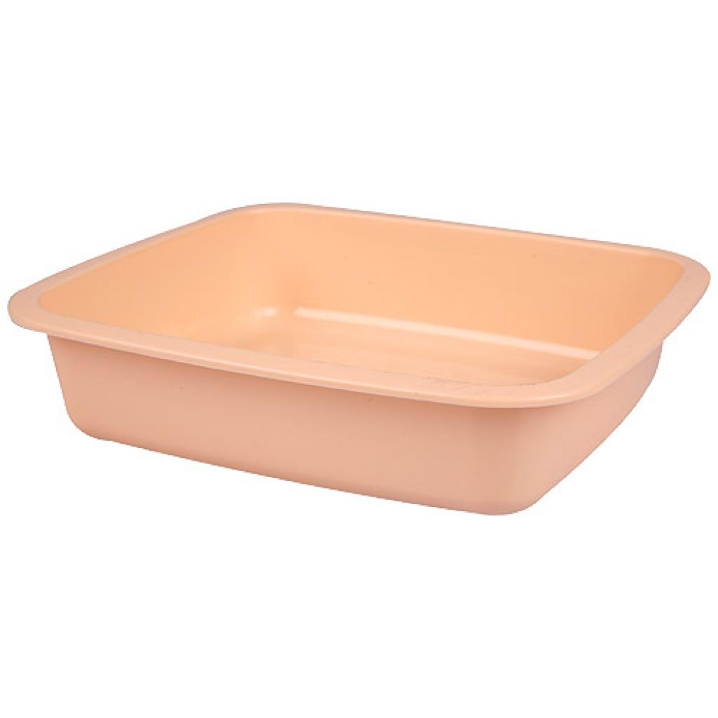 Salmon pink GN 1/6 plastic container, 40mm depth