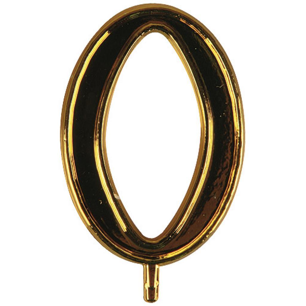 Chiffre or n° 0 en plastique pour Bougie
