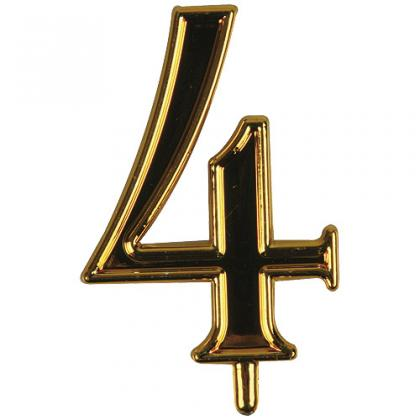Golden plastic number 4 for candles