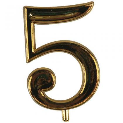Golden plastic number 5 for candles