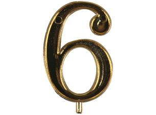 Golden plastic number 6 for candles