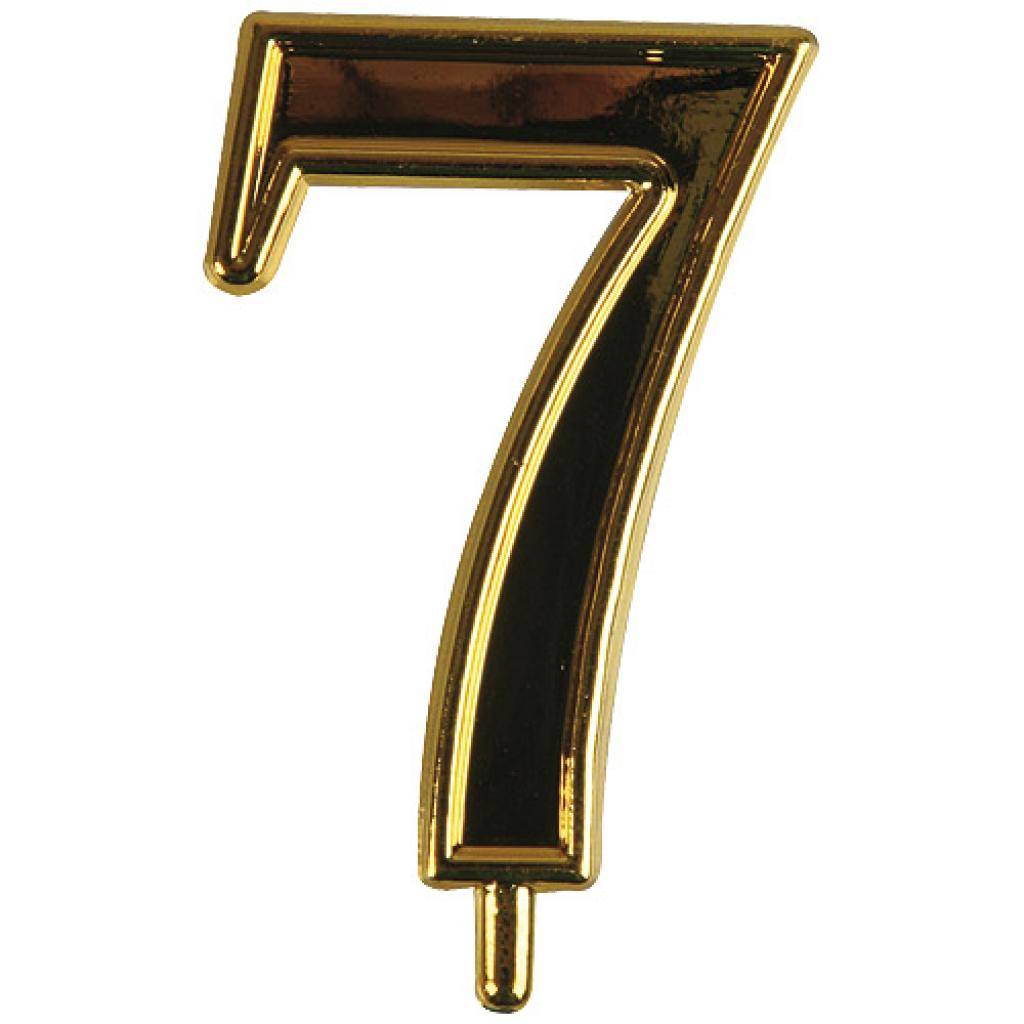 Golden plastic number 7 for candles