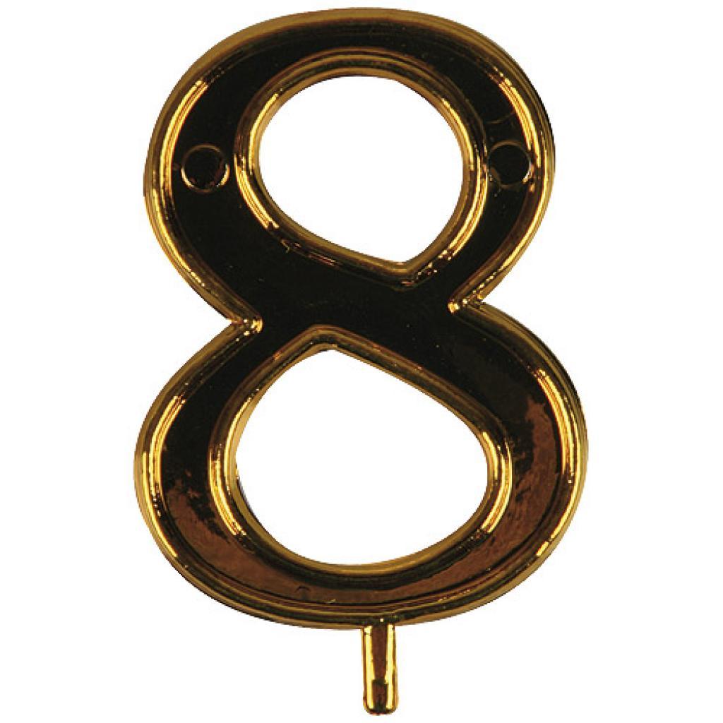 Chiffre or n° 8 en plastique pour Bougie