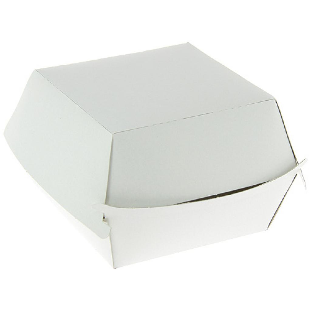 White Paperboard hamburger boxes fat resistant,100x100x80 mm.