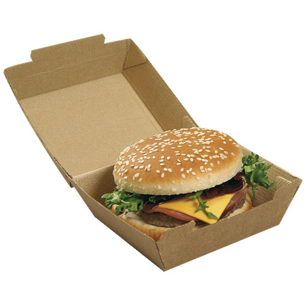 Brown kraft paperboard hamburger box 110x104x75 mm 3
