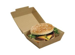 Brown kraft paperboard hamburger box 110x104x75 mm