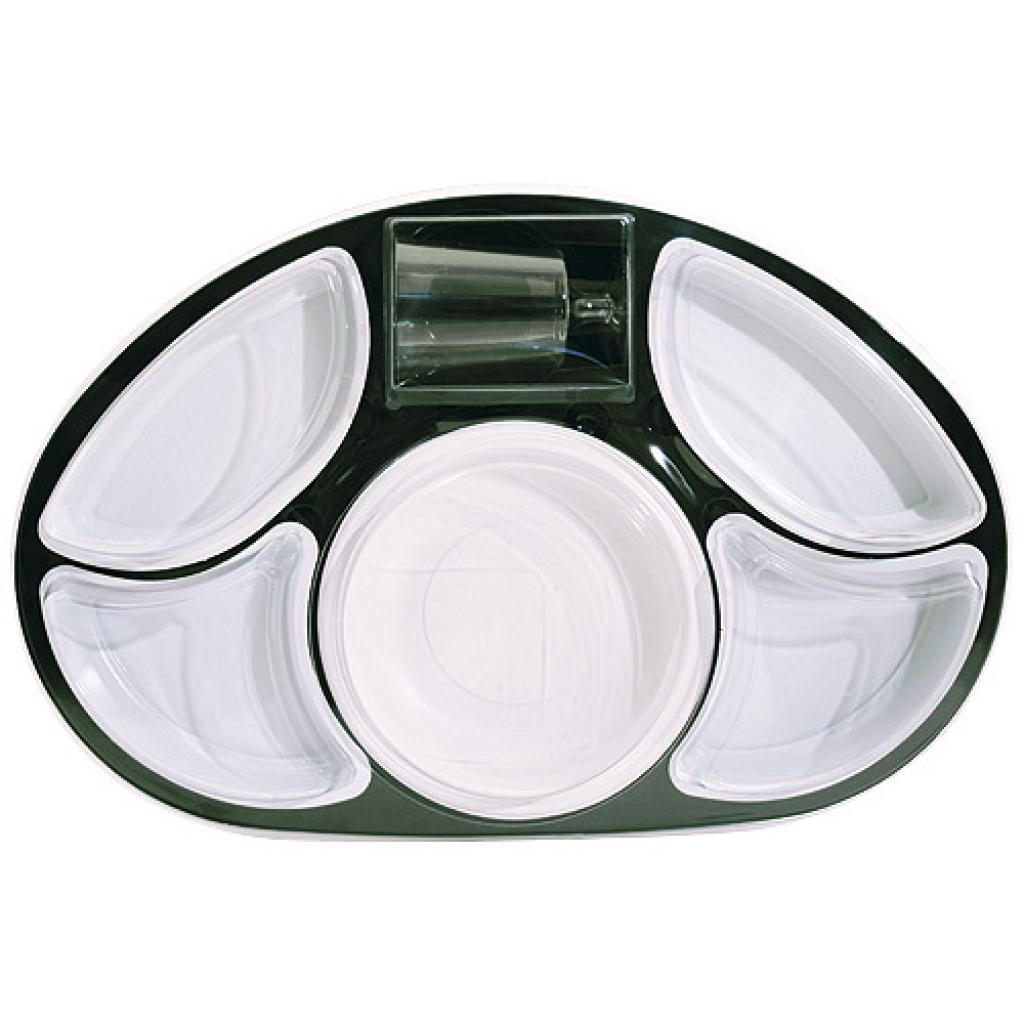 Oval black PS tray with matching lid