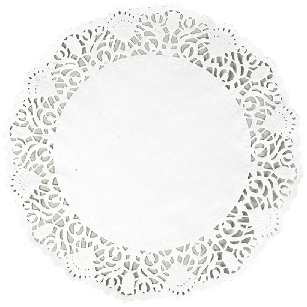 Circular white paper doily Ø 26 cm