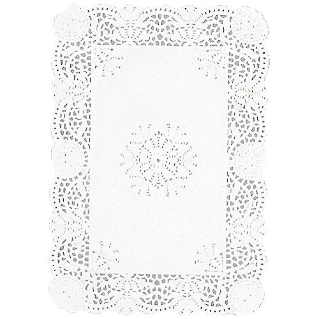 Rectangular white paper doily 35x25 cm