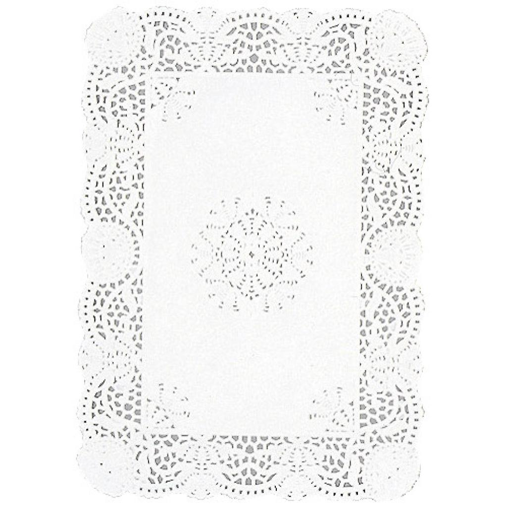 Rectangular white paper doily 30x40 cm