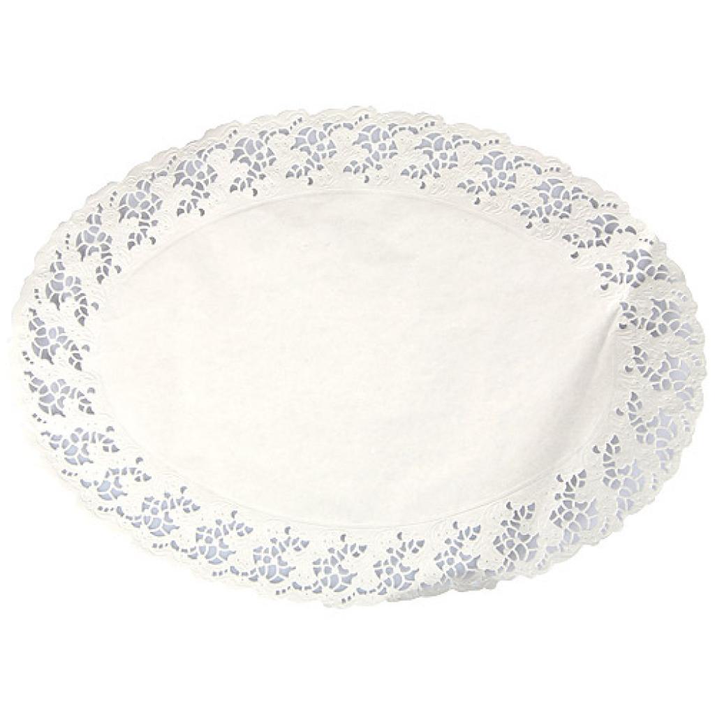 Oval white paper doily 28x38 cm
