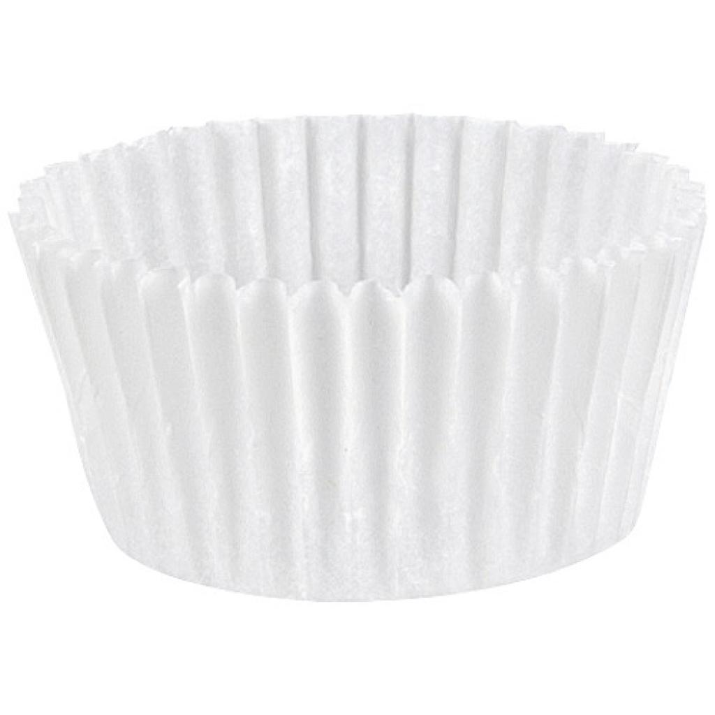 Circular white pleated paper bun case n°4