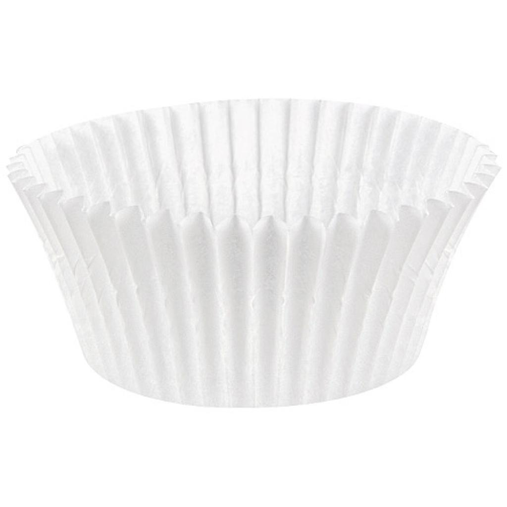 Circular white pleated paper bun case n°6