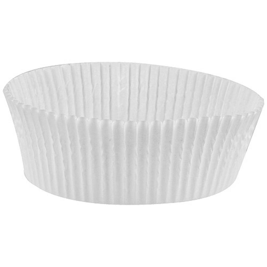 Circular white pleated paper bun case n°1208