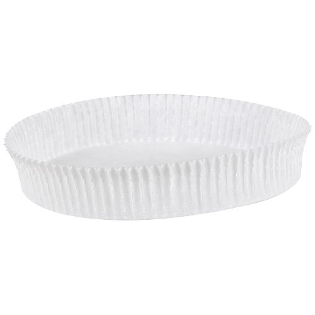 Circular white pleated paper bun case n°1319