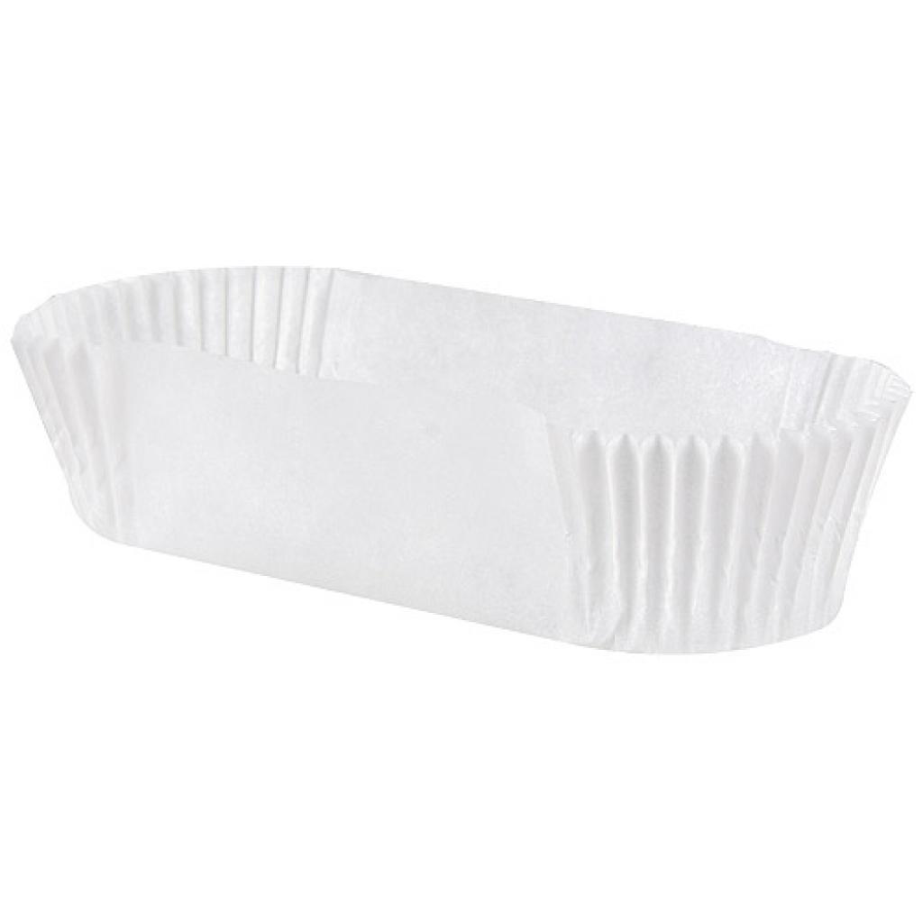Circular white pleated paper bun case n°88