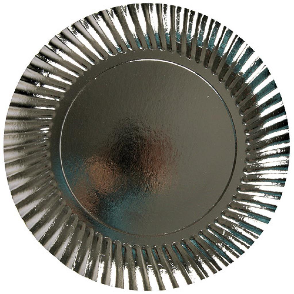 Assiette carton métal argent Ø 29 cm