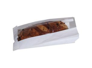 White PE coated paper sandwich bag with window 14x4x25 cm