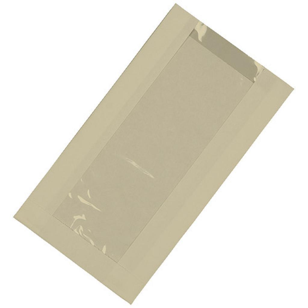 Brown kraft paper sandwich bag with window 14x4x25 cm