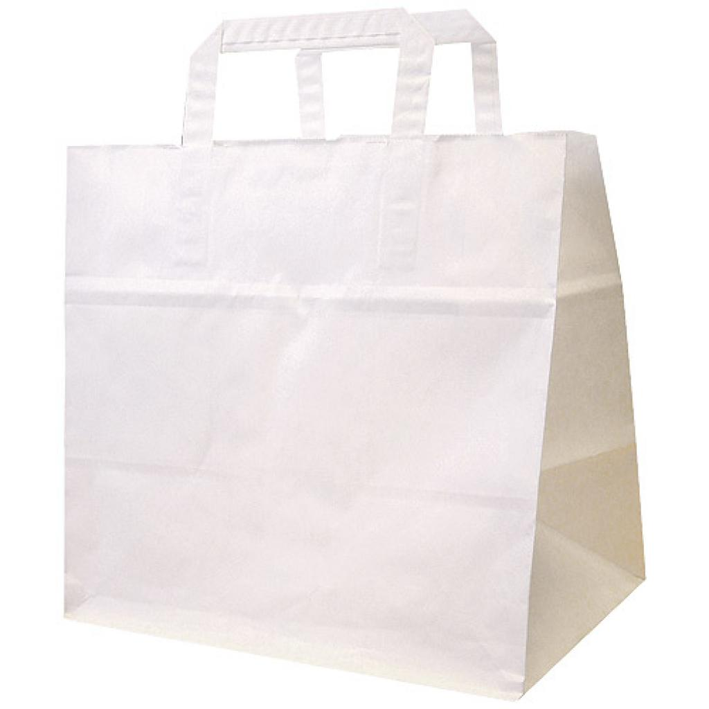 White kraft paper tote bag 75 g/m² 26x18x26 cm