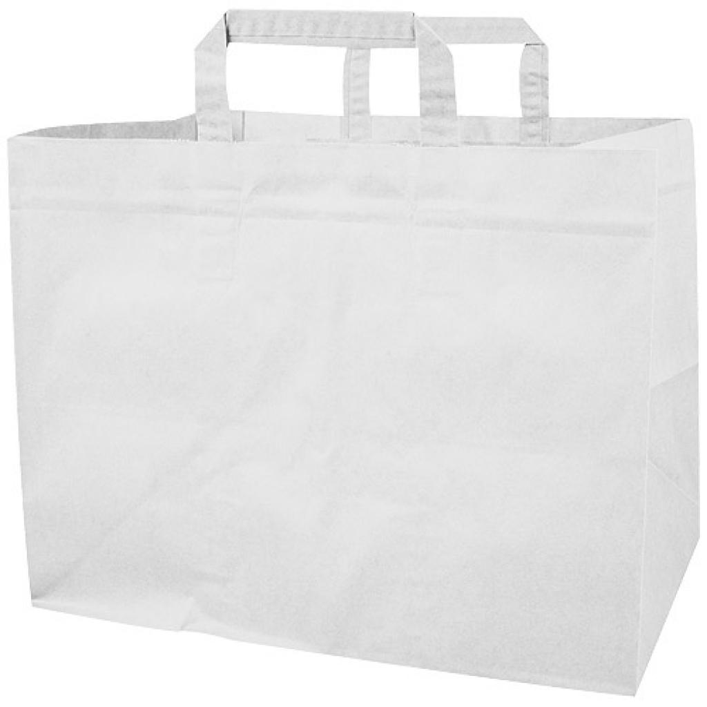 White kraft paper tote bag with flat handles (70g/m²) 32x20x23 cm