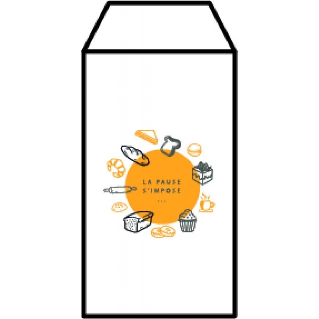 White patterned kraft paper n°2 croissant bag
