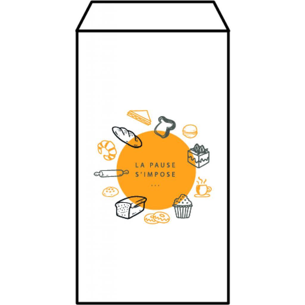 White patterned kraft paper n°6 croissant bag
