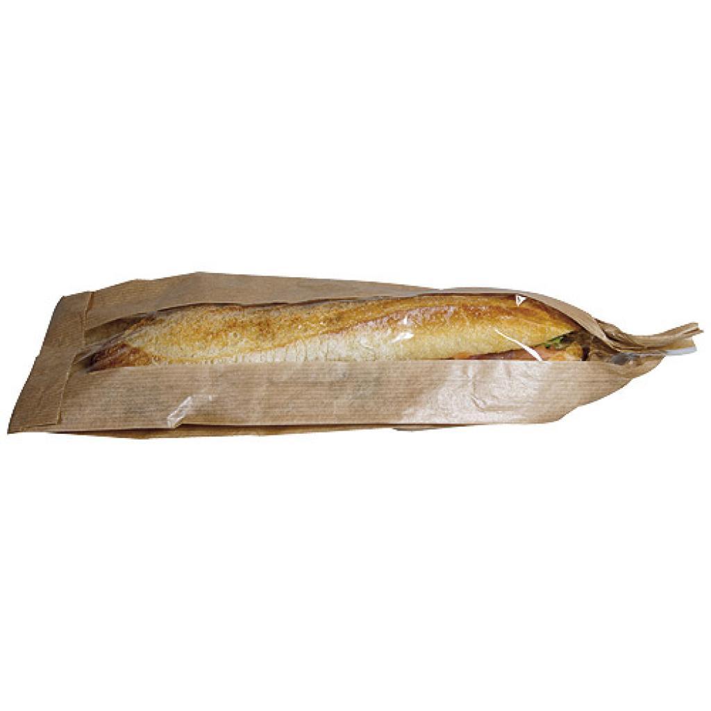 Sac sandwich kraft brun fenêtre 10x4x34 cm