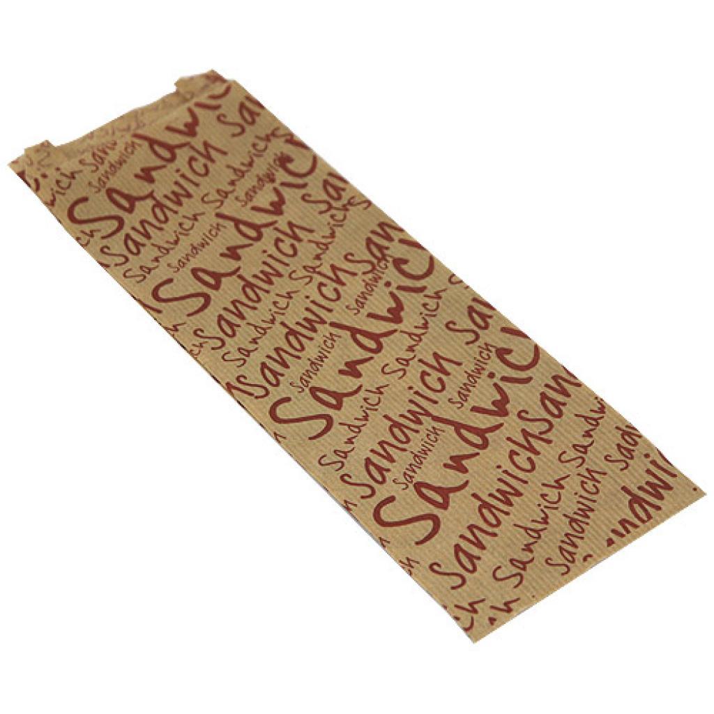 Sac sandwich papier kraft brun 10+4X31