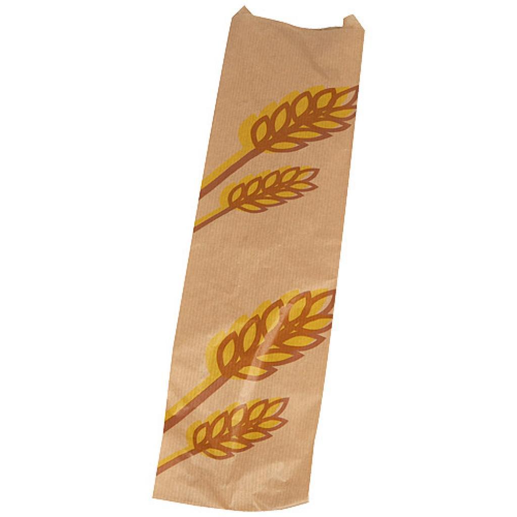 Brown patterned kraft paper single baguette bag 10x4x42 cm