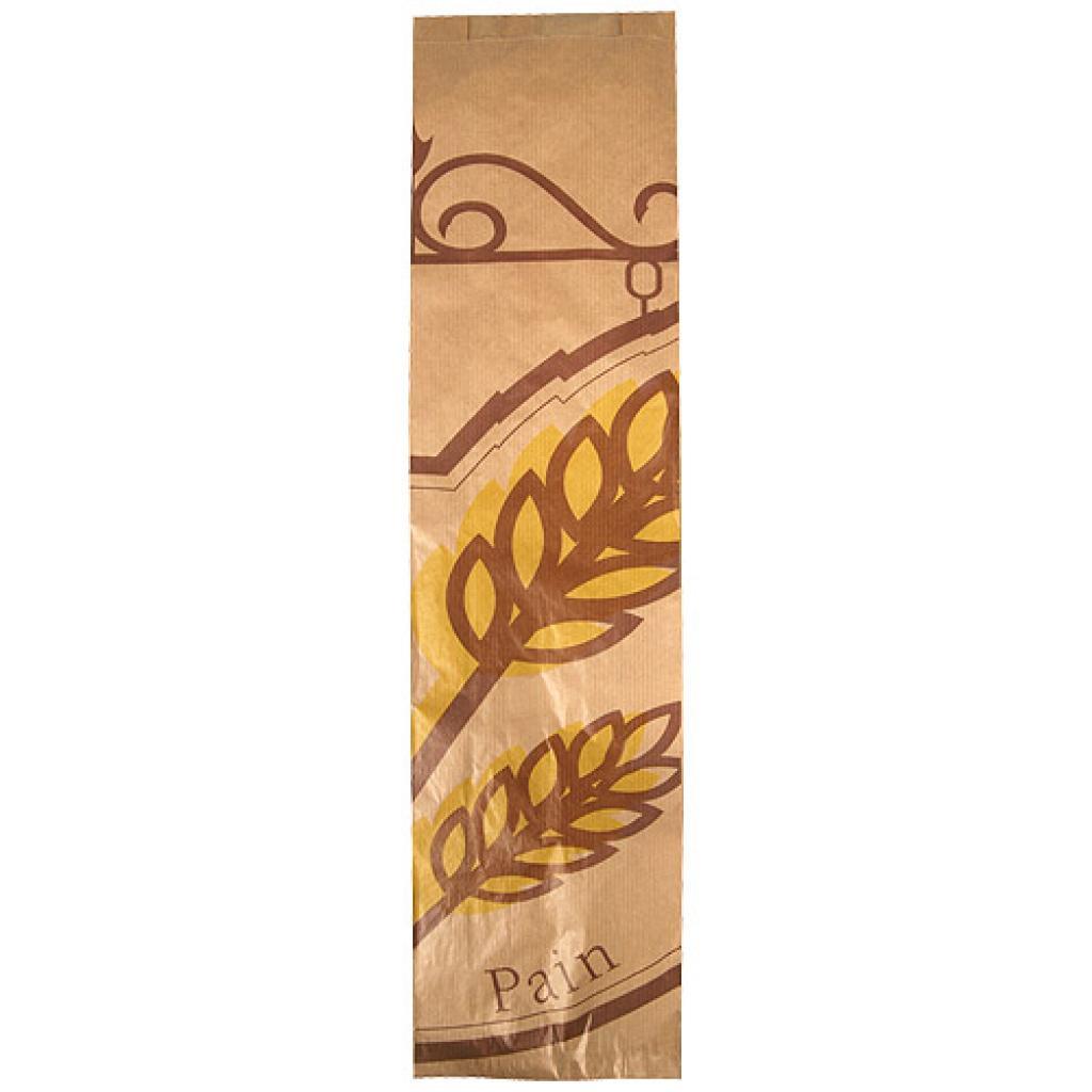 Brown patterned kraft paper double baguette bag 14x6x56 cm