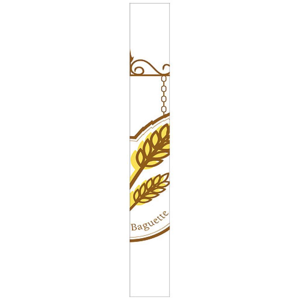 Sac baguette longue kraft blanc décor 9x4x67 cm