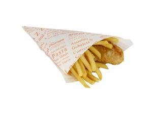 Small newsprint fish and chips cone