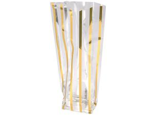 Cellophane bag with a flat cardboard block bottom and a gold strip 12x26 cm