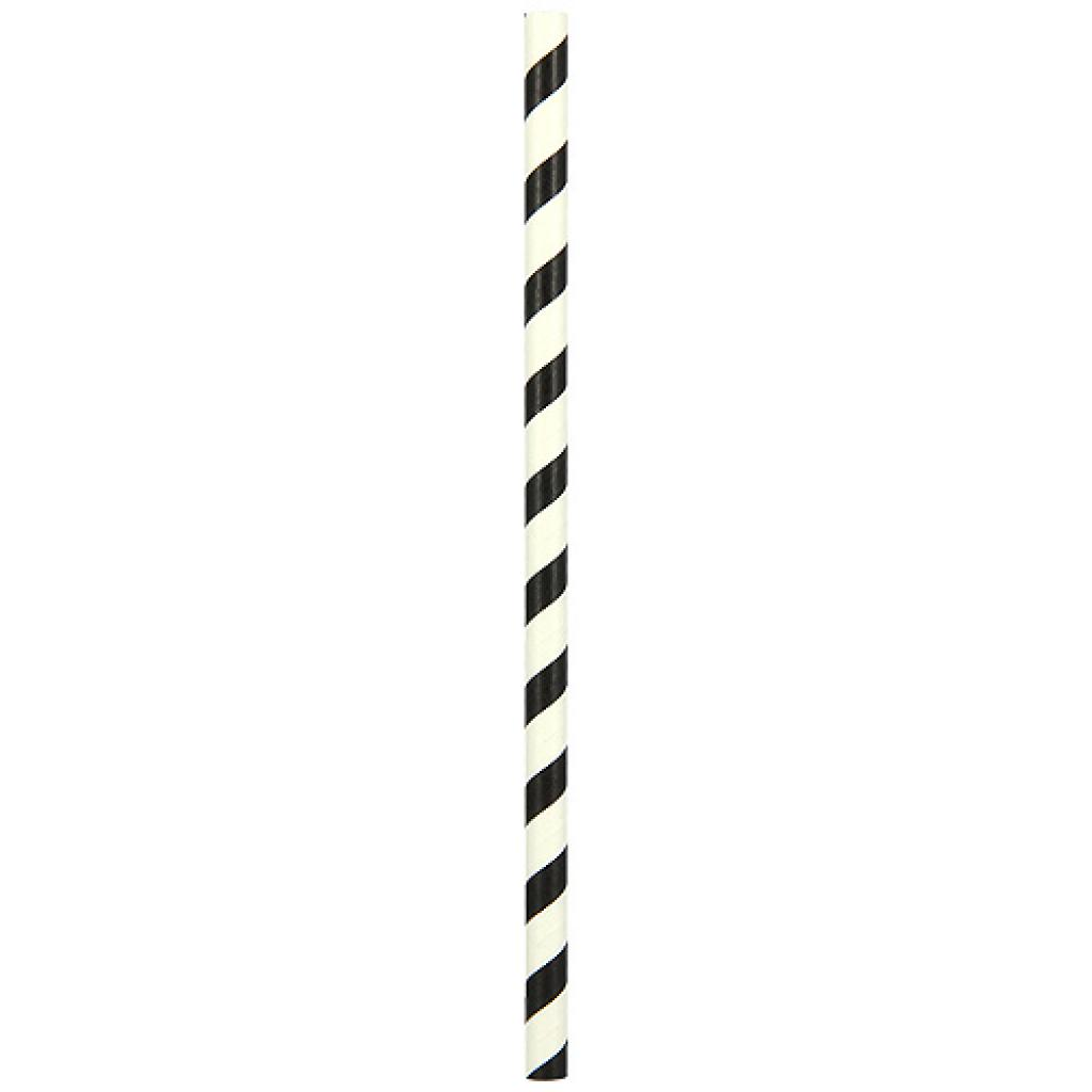 Paille papier rigide twist noir Ø 8 mm