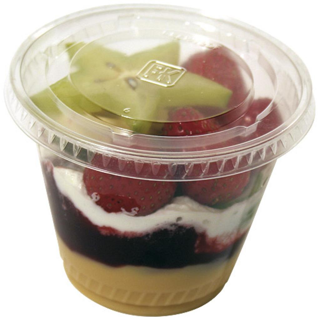 Flat, non-perforated lid for 21 and 27cl dessert cup