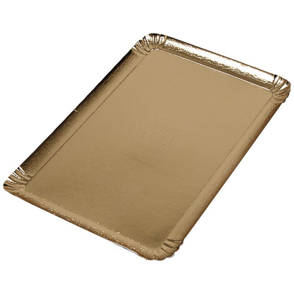 28x42cm gold-coloured square cardboard tray