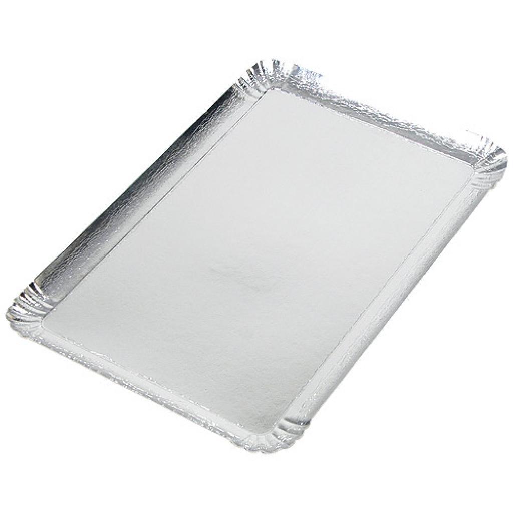 28x42cm silver-coloured square cardboard tray