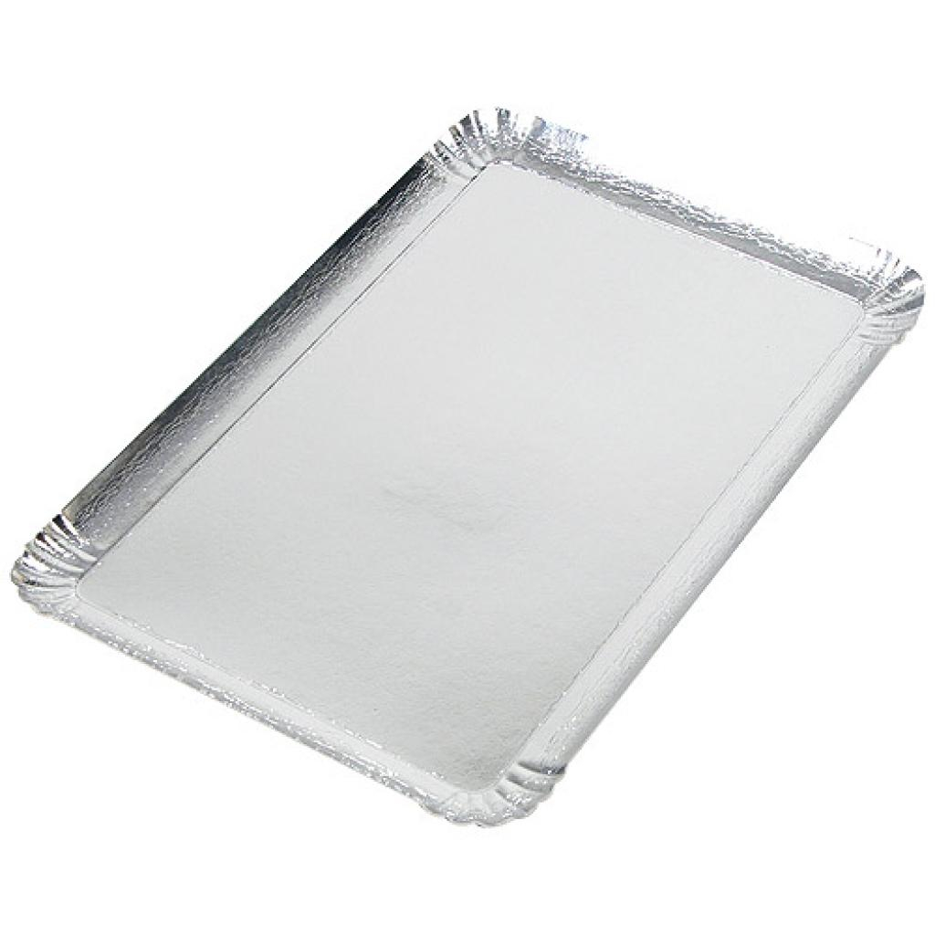 10x16cm silver-coloured square cardboard tray