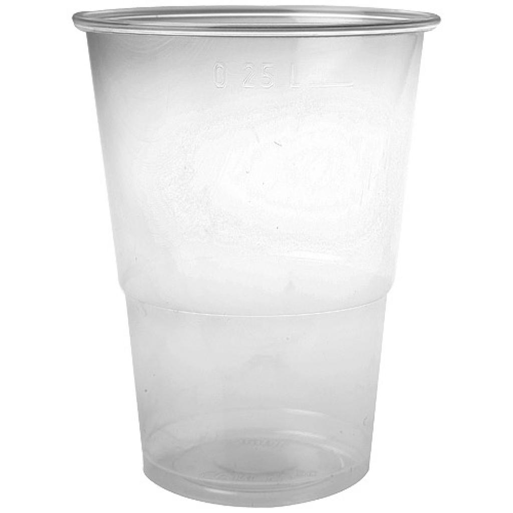 30cl transparent PP cup, with a groove at 25cl