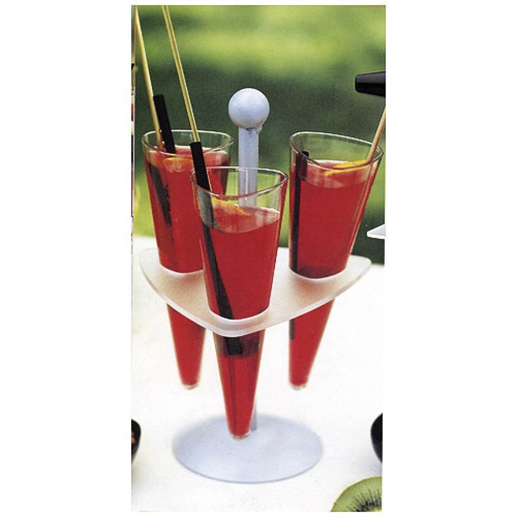 Plastic display tray for 3 conical glasses 2