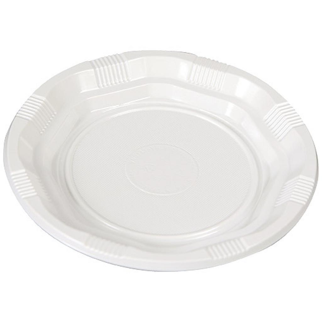 White, PS plastic plates Ø 16,5 cm