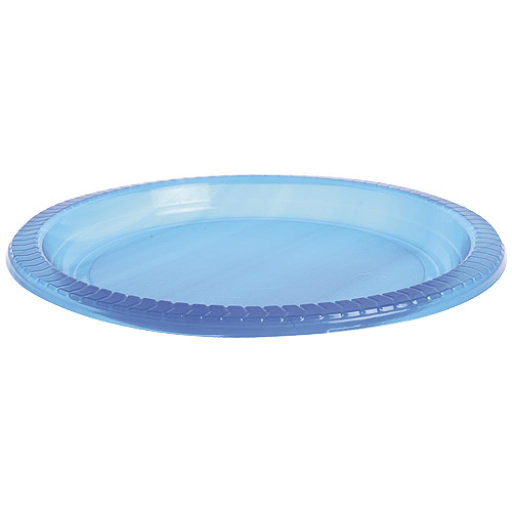 Assiette plastique PS bleue Jetable Ø 22cm