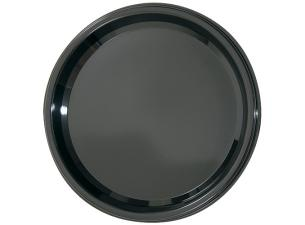 Black PET plastic plate Ø 23cm