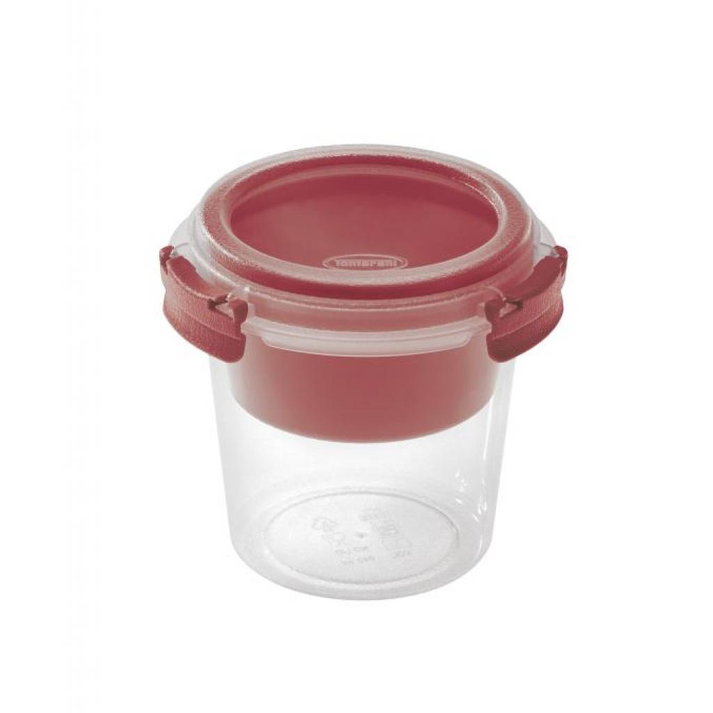 Pot PP rouge 0,64L réutilisable diamètre 120mm avec insert rouge
