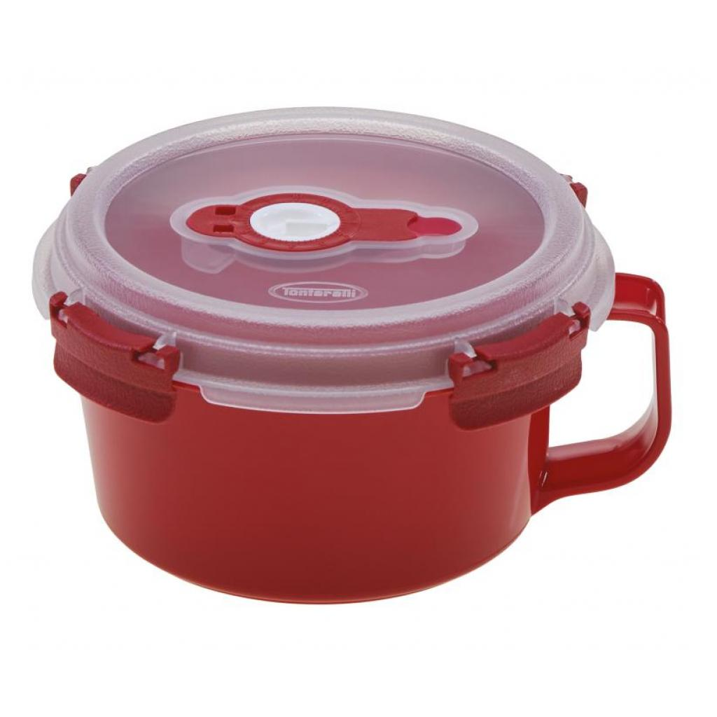 Reusable red PP cup 160mm diameter with red handle 0.85L