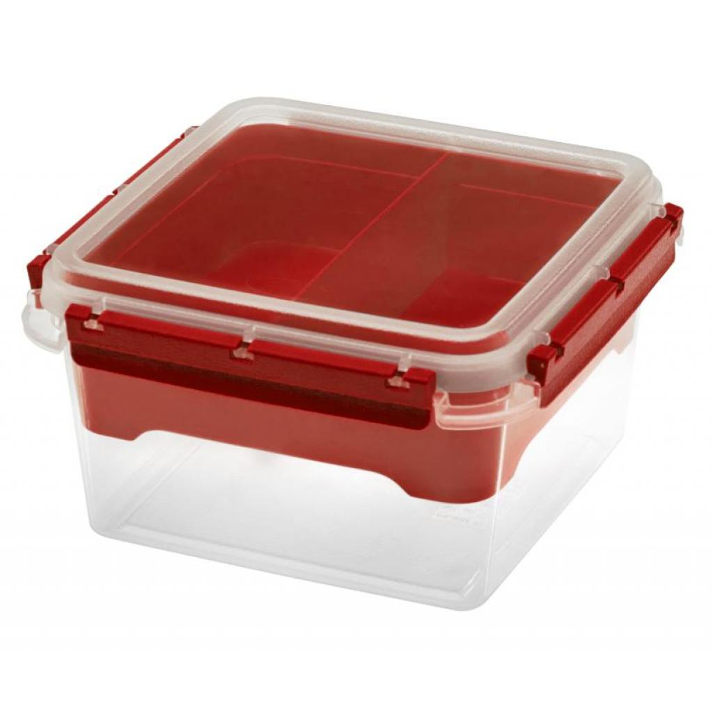 Boîte Bento PP 2,25L rouge réutilisable avec insert 2 compartiments