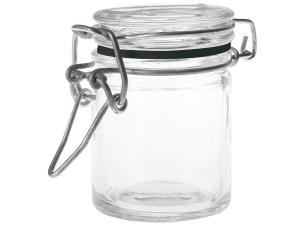 4.5cl low glass mini-jar with black ring seal