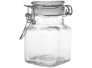 11cl small square glass jar with white ring seal